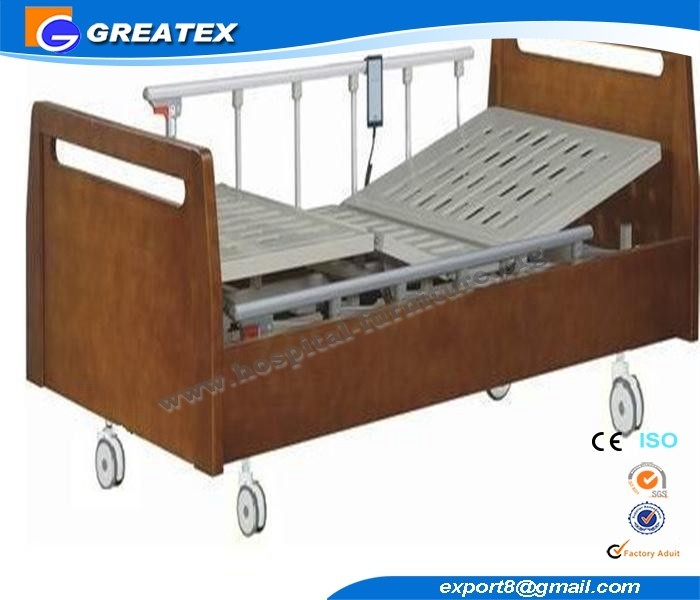 wooden Electric Nursing Bed with Transfusion Holes and Drainage Hooks